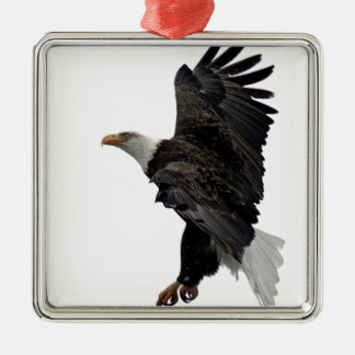 Flying Bald Eagle Silver-Colored Square Ornament