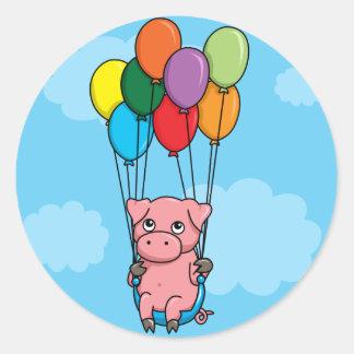 Flying Balloon Pig Round Sticker