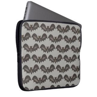 Flying Bats Black Gray Happy Halloween Print Laptop Sleeve