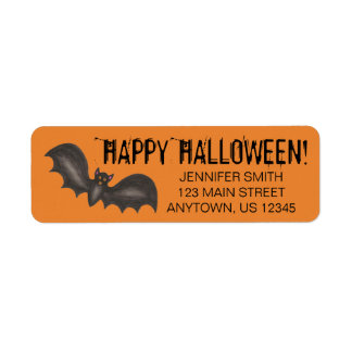 Flying Bats Black Orange Happy Halloween Custom