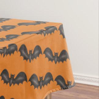 Flying Bats Black Orange Happy Halloween Print Tablecloth