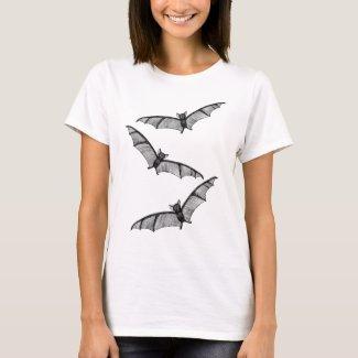 Flying Bats Ink Art Drawing Scary Halloween Goth T-Shirt