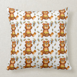 Flying Bees With A Honey Bear Throw Pillow