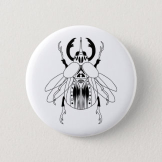 Flying Beetle Black on White Badge 2 Inch Round Button