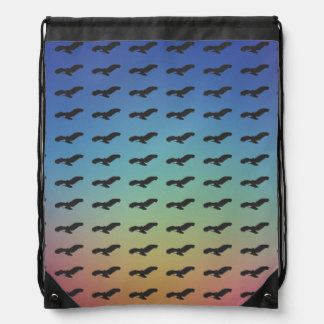 Flying Bird Black Silhouette Pattern & Colorful BG Drawstring Bag