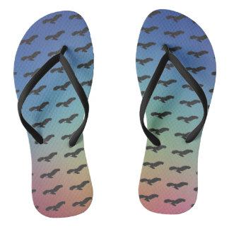Flying Bird Black Silhouette Pattern & Colorful BG Flip Flops