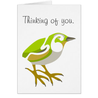Flying bird, Thinking of you. Greeting Card