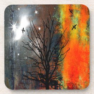 Flying Birds and Starry Sky Landscape Coaster