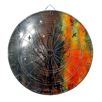 Flying Birds and Starry Sky Landscape Dartboard