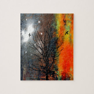 Flying Birds and Starry Sky Landscape Jigsaw Puzzle
