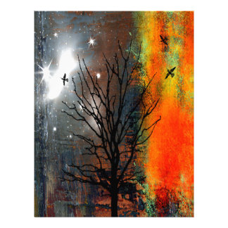 Flying Birds and Starry Sky Landscape Letterhead