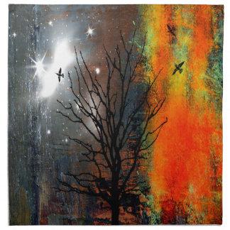 Flying Birds and Starry Sky Landscape Napkin