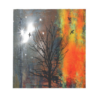 Flying Birds and Starry Sky Landscape Notepad