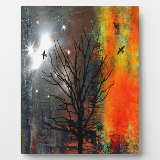 Flying Birds and Starry Sky Landscape Plaque