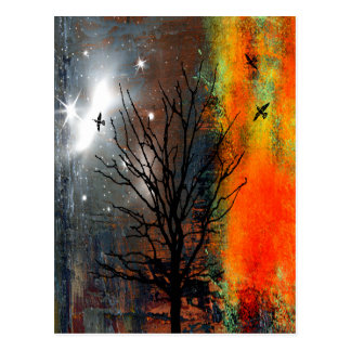 Flying Birds and Starry Sky Landscape Postcard