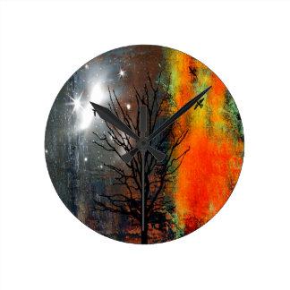 Flying Birds and Starry Sky Landscape Round Clock