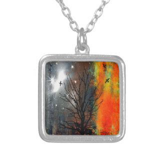 Flying Birds and Starry Sky Landscape Silver Plated Necklace