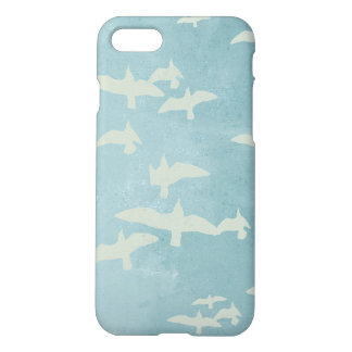 Flying birds, seagulls in flight on teal blue iPhone 8/7 case