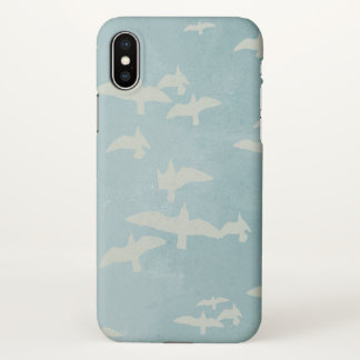 Flying birds, seagulls in flight on teal blue iPhone x case