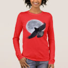 Flying Black Raven Embracing the Moon Design Long Sleeve T-Shirt