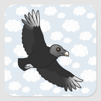 Flying Black Vulture Square Sticker