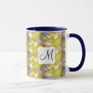 Flying blonde angels with fanfare in their hands mug