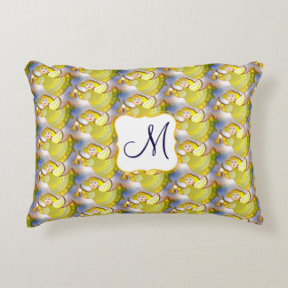 Flying blonde angels with fanfare monogram accent pillow