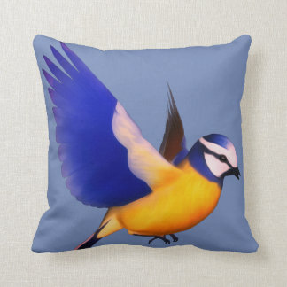 Flying blue and yellow finch throw pillow