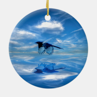 Flying Blue Magpie & Reflected Sky Round Ceramic Ornament