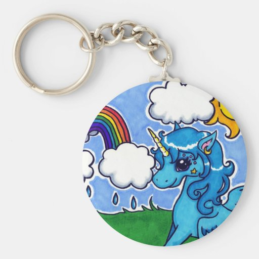 Flying Blue Unicorn with rainbow Key Chains