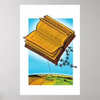 Flying Book Kite Poster