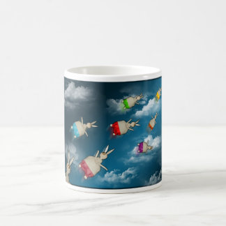 Flying bunnies coffee mug