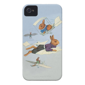 Flying Bunny Rabbits - Cute Funny Vintage iPhone 4 Cover
