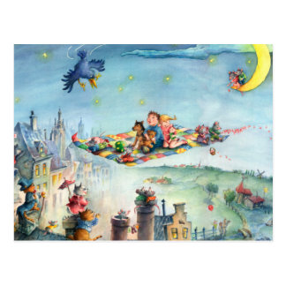 Flying Carpet Ride  - Children's Postcard