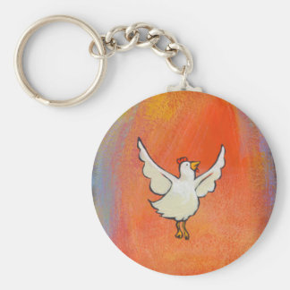 Flying Chicken - Inspirational colorful fun art Basic Round Button Keychain
