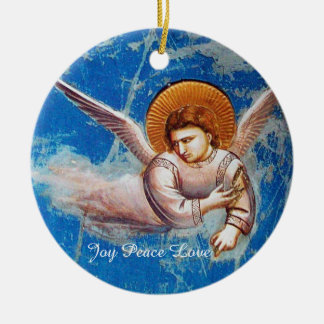 FLYING CHRISTMAS ANGELS IN BLUE.FLIGHT INTO EGYPT CERAMIC ORNAMENT