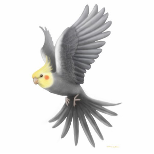 Flying Cockatiel Holiday Ornament Photo Cutout