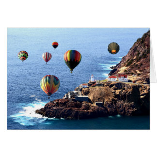 Flying Colorful Hot air Balloons over Newfoundland Card