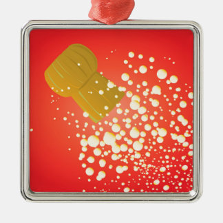 Flying Cork Silver-Colored Square Ornament