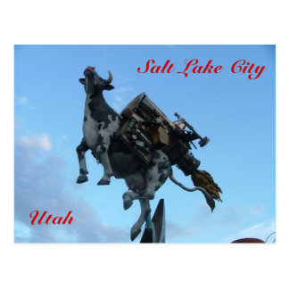 Flying cow postcard