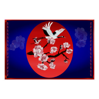Flying Crane and Sun(midnight blue background)yard Poster