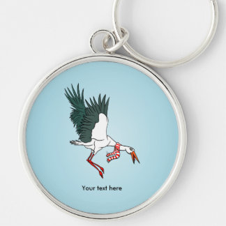 Flying Crane Wearing A Neck Scarf Silver-Colored Round Keychain