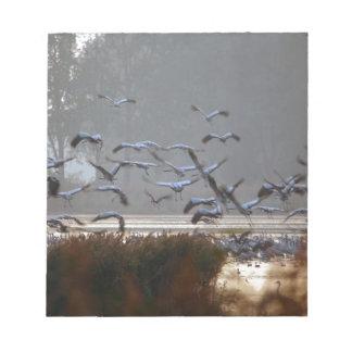 Flying cranes notepad