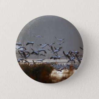 Flying cranes on a lake 2 inch round button