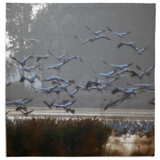 Flying cranes on a lake napkin