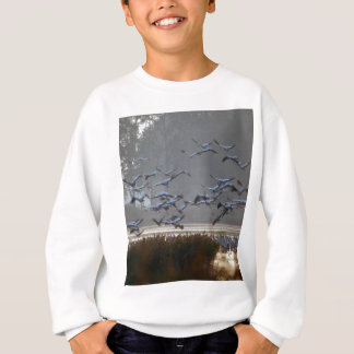 Flying cranes on a lake sweatshirt