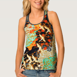 FLYING CRANES WITH SPRING FLOWERS Japanese Floral Tank Top