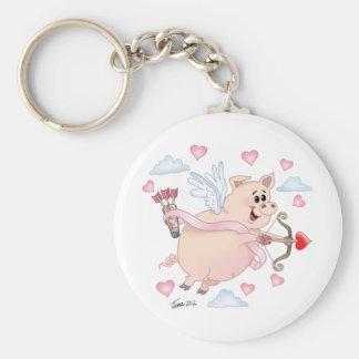 Flying Cupid Piggy Valentine's Day Basic Round Button Keychain