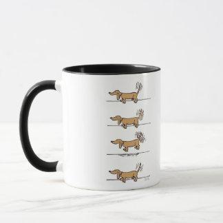Flying Dachshund cartoon right hand coffee mug