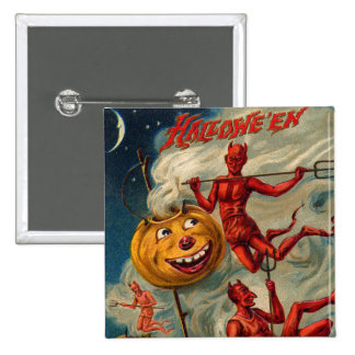 Flying Devils Jack O' Lantern Smoke 2 Inch Square Button